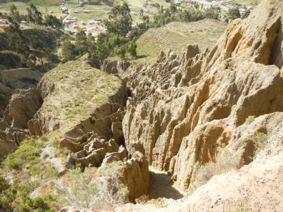 Lehmstein von der Erosion zerfressen