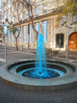 Blue fountain on Argentinas Independence Day