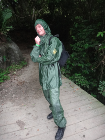 Frank preparing for the rain